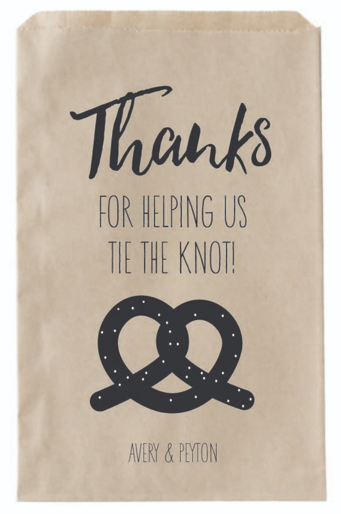 Print: Tie The Knot Wedding Favor Bags For Pretzels
