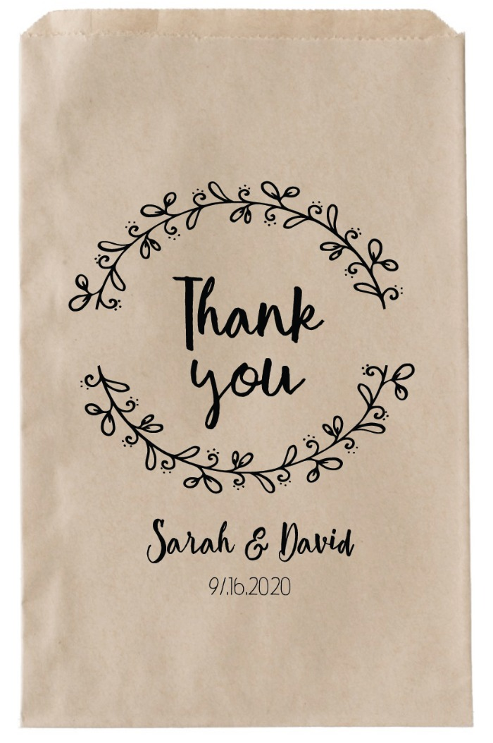 Print: Wreath Printable Thank You Favor Bag