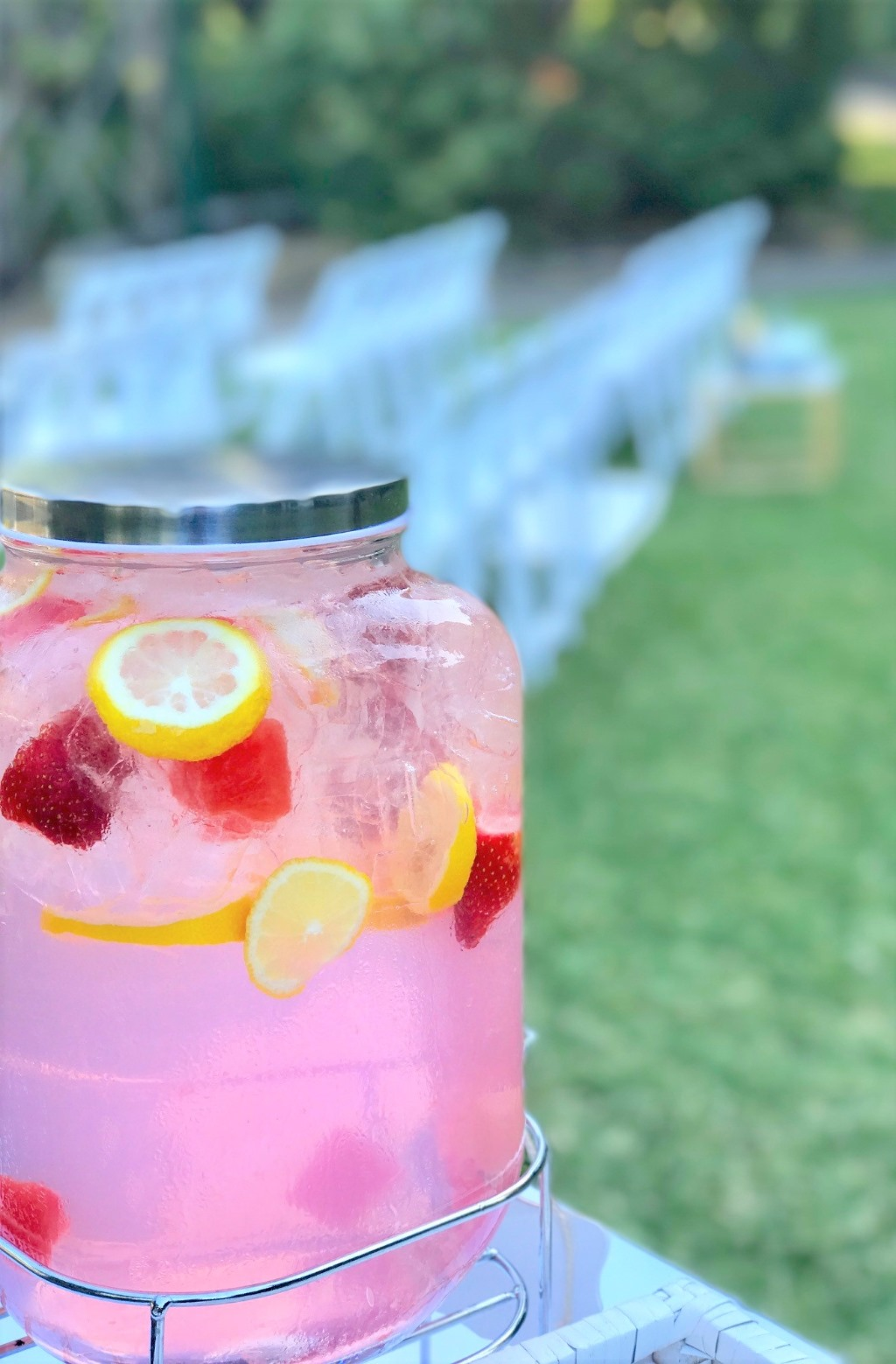 Pink Lemonade Wedding Drinks by Brisbane Wedding Decorators at Brisbane's City Botanic Gardens