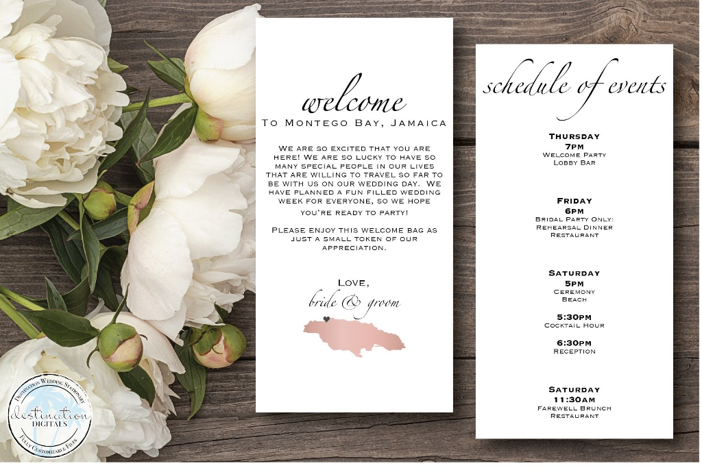 Destination Wedding Brides! Check out these super classy welcome bag letters & itineraries!
