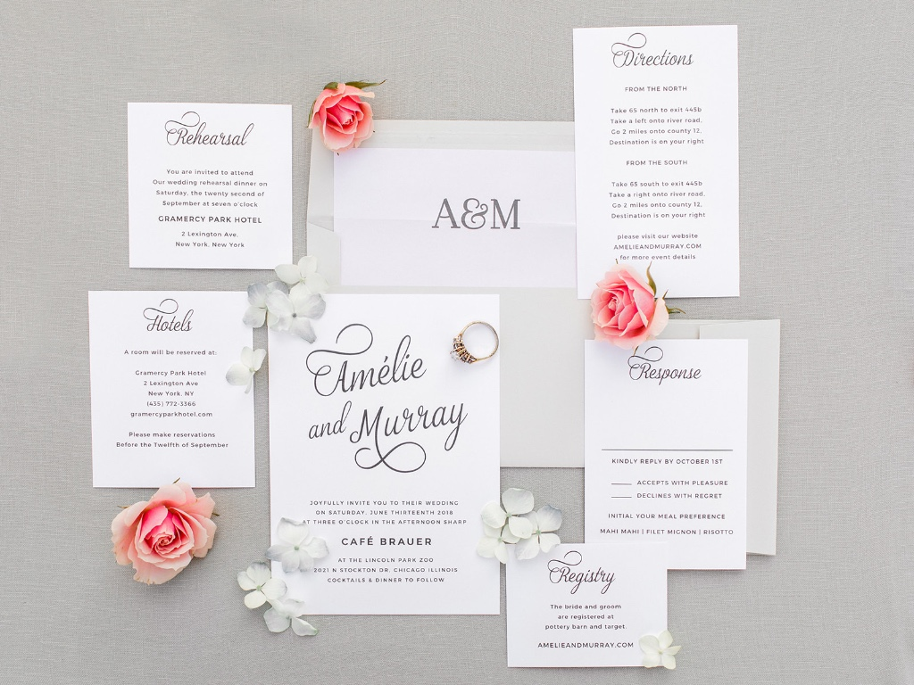 Script fonts and monograms making wedding invitation suites look flawless!