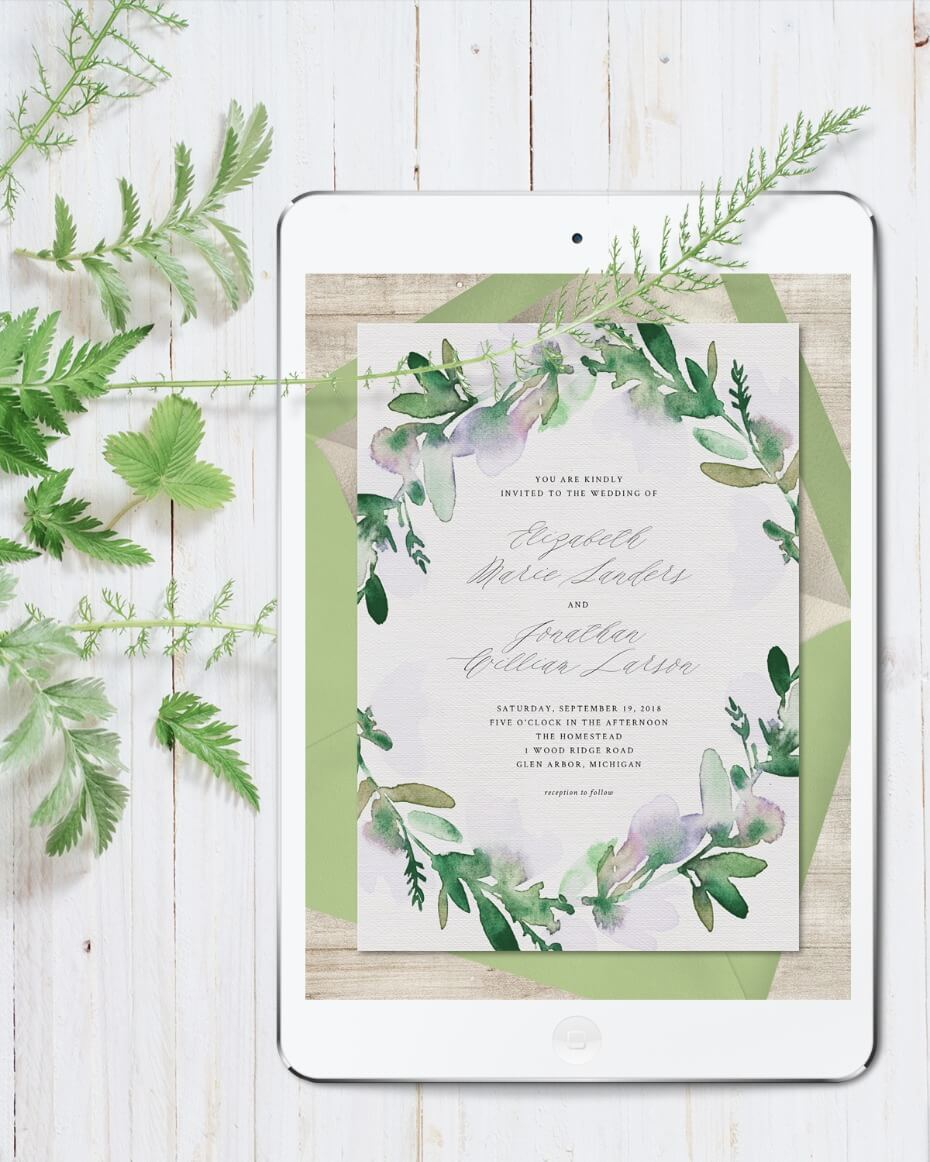Greenvelope Online Invitation Green and Purple Watercolor