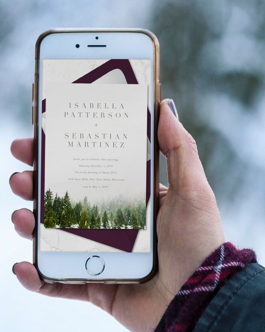 Greenvelope Online Wedding Invite Shown on iPhone