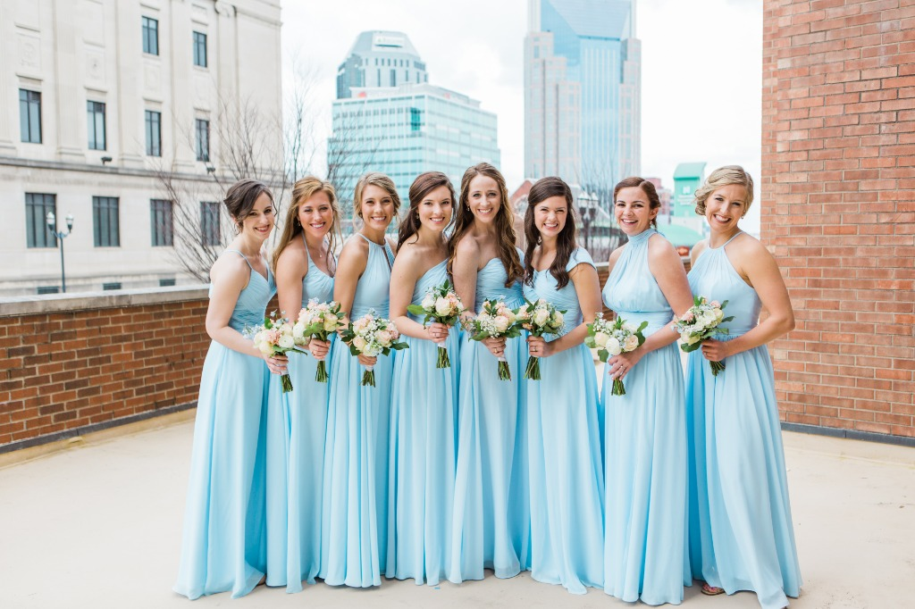 Sky Blue Wedding Party😍 💕 Complete the classic tradition by having your bridal party in something blue | Photo by Sarah Sidwell