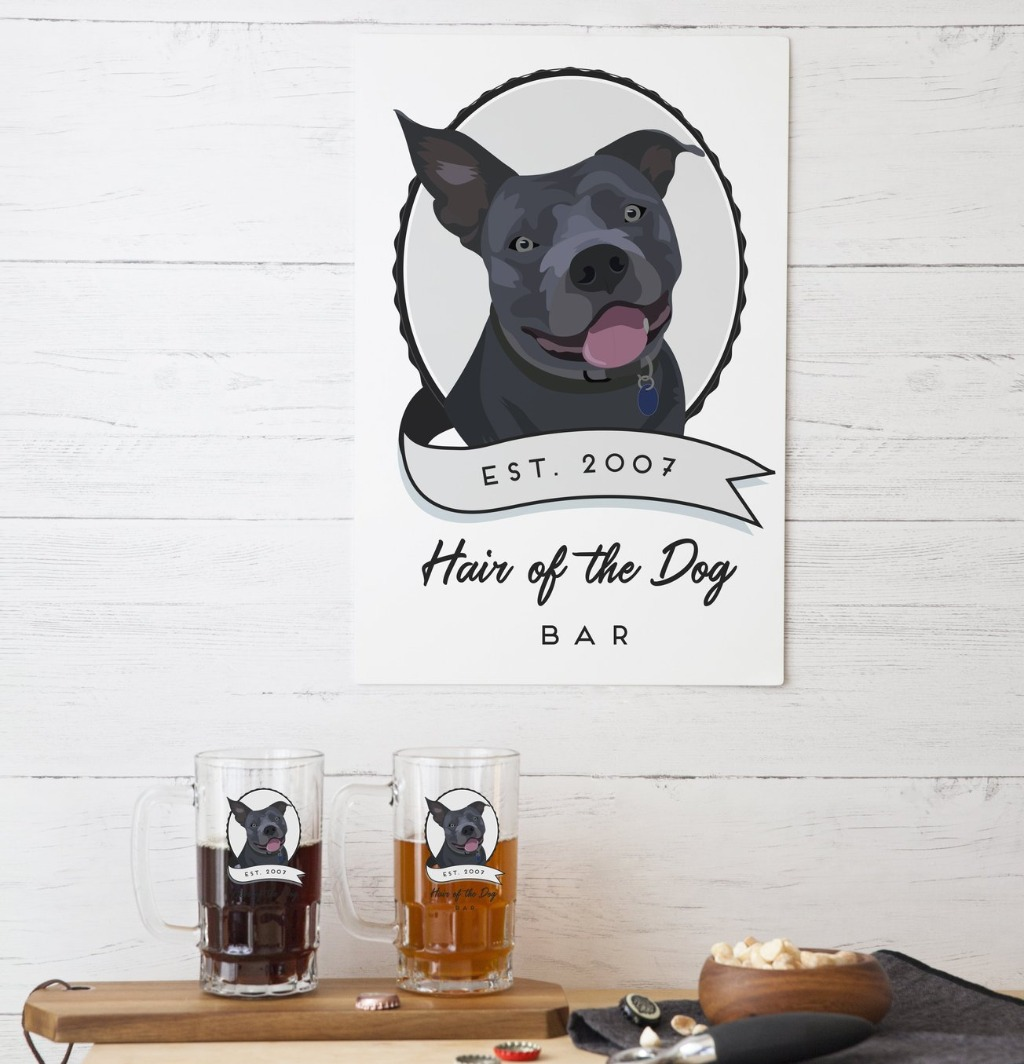 We love a good home bar sign, and this Pet Portrait Aluminum Sign for Bar or Cigar Bar from Miss Design Berry is perfect decor for