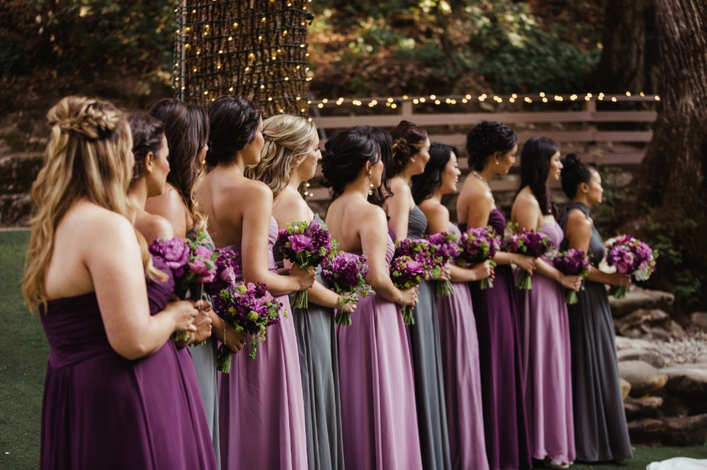 Purple & Steel Grey Wedding Party 😍 💕 | Photo by Kandace Photography