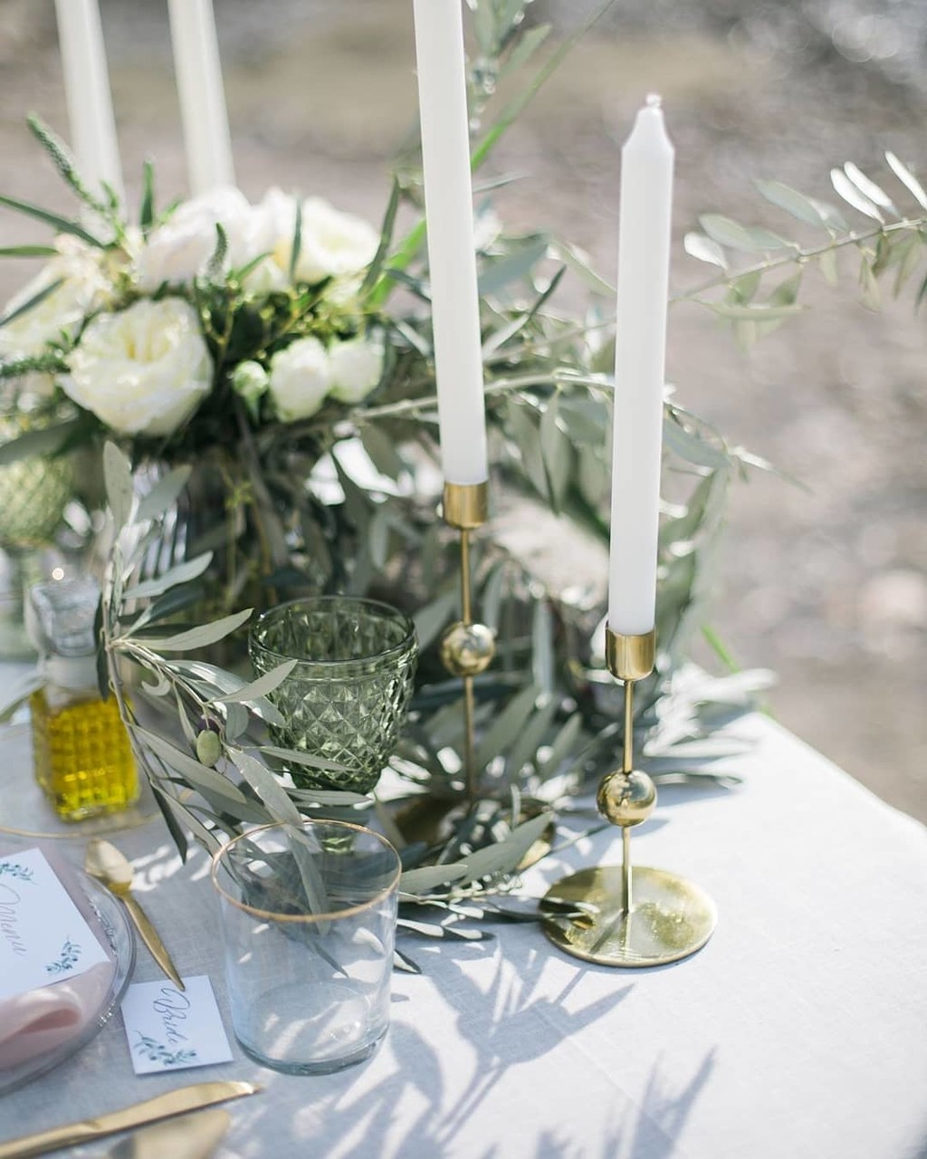 ▪M for Magic.This elegant and chic set up meets organic style with details of olive and eucalyptus. A dream come true by the sea