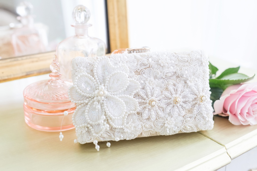 Unique, glamorous one of a kind bridal clutches