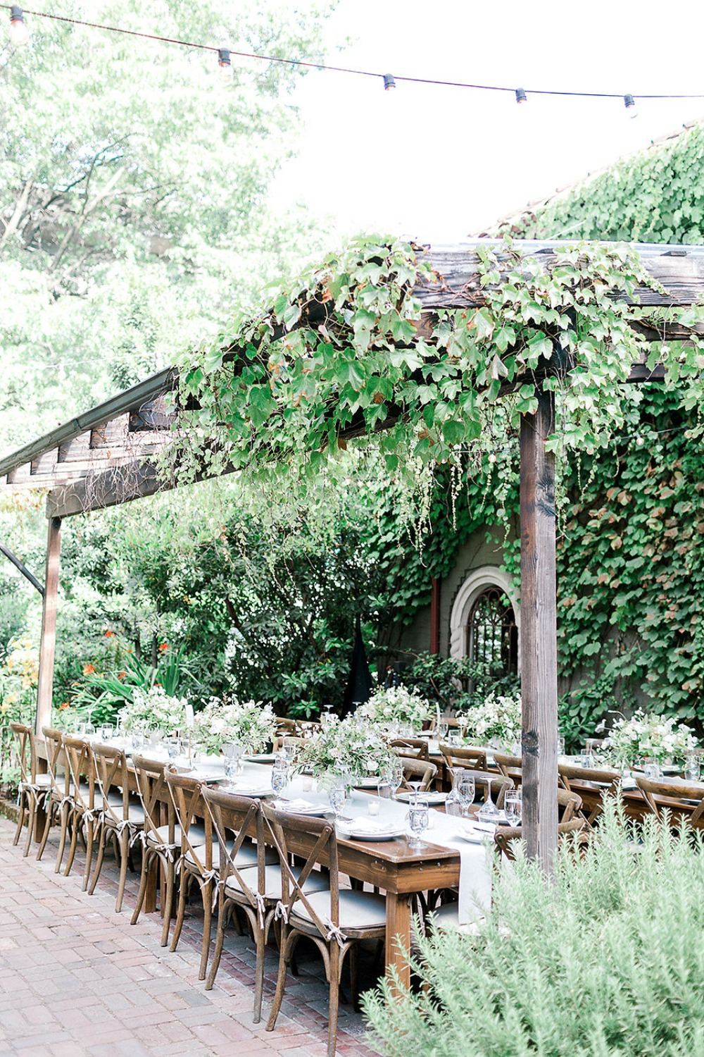 overgrown garden patio wedding reception