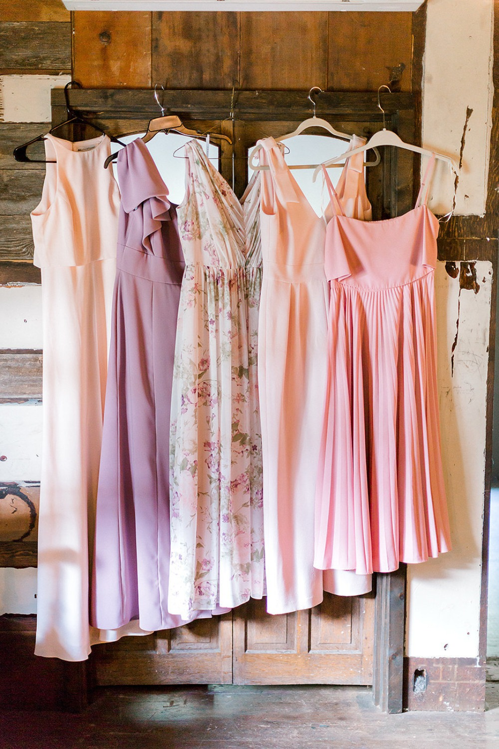 bridesmaids in pinks and soft blush