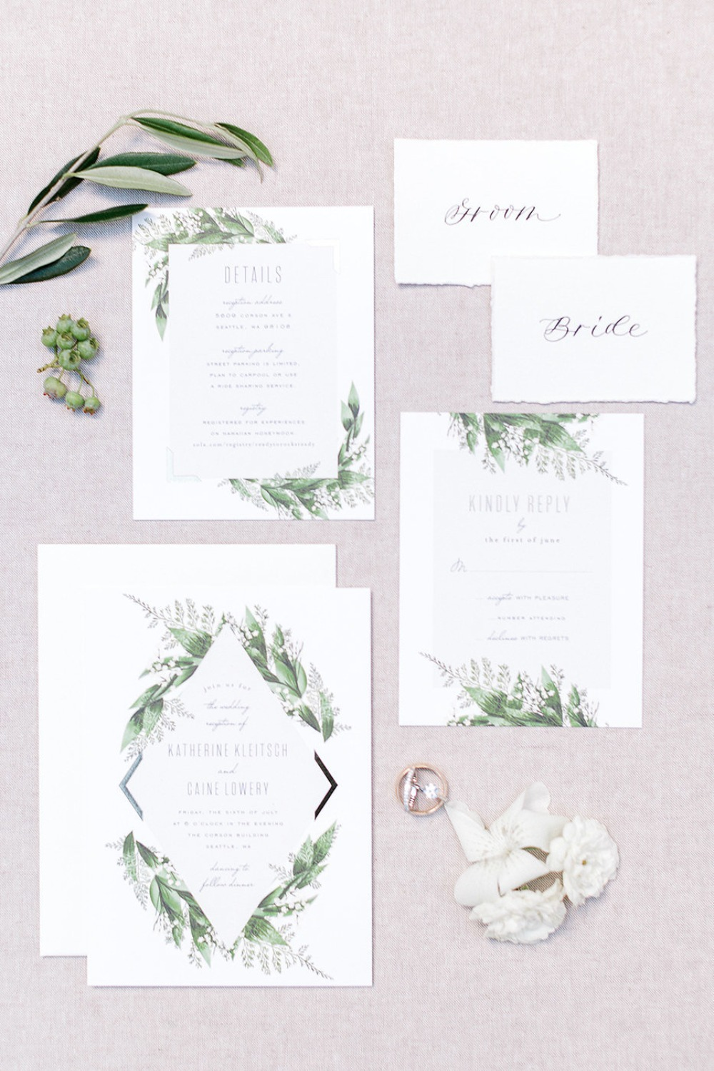 elegant garden themed wedding invitation suite