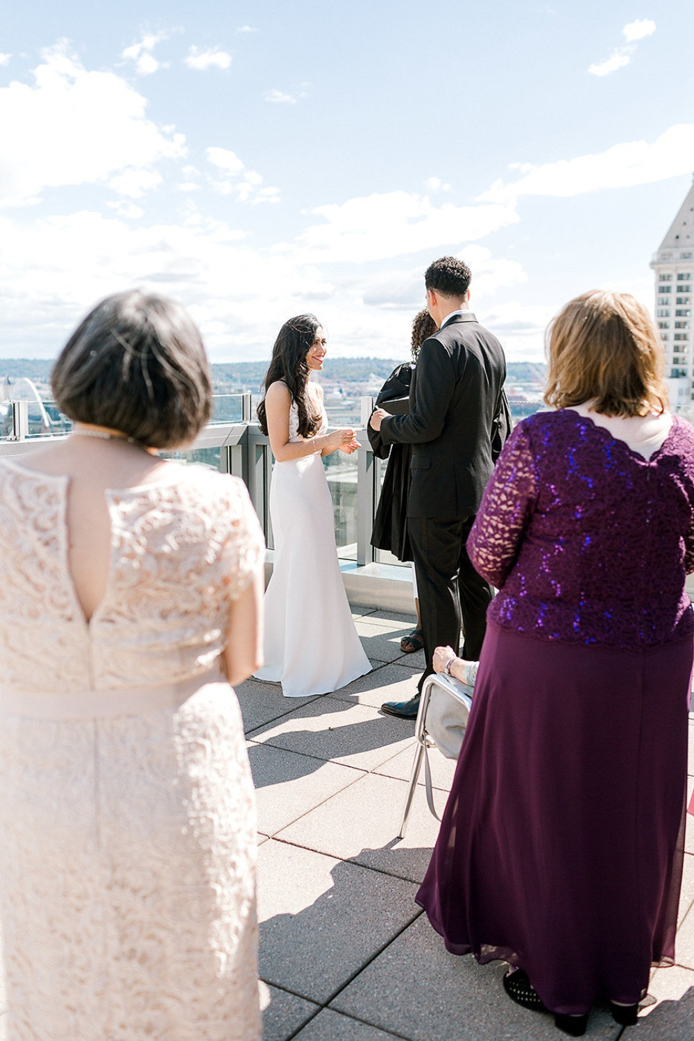 just family rooftop wedding ceremony