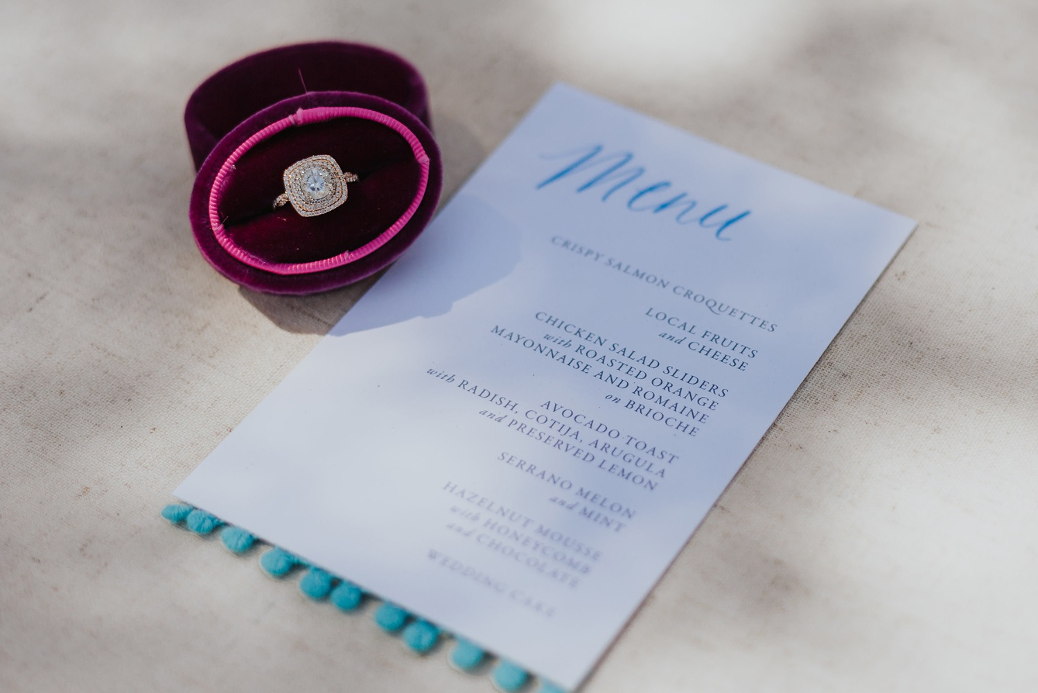 tasseled wedding menu