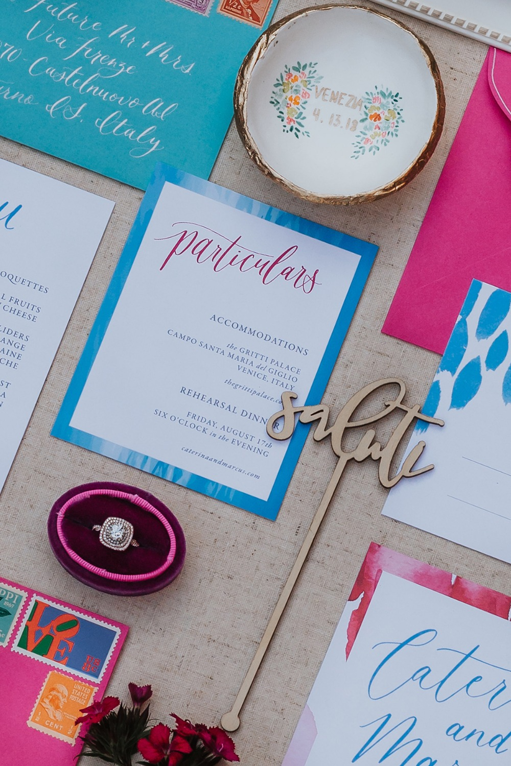 wedding stationery in pink and blue