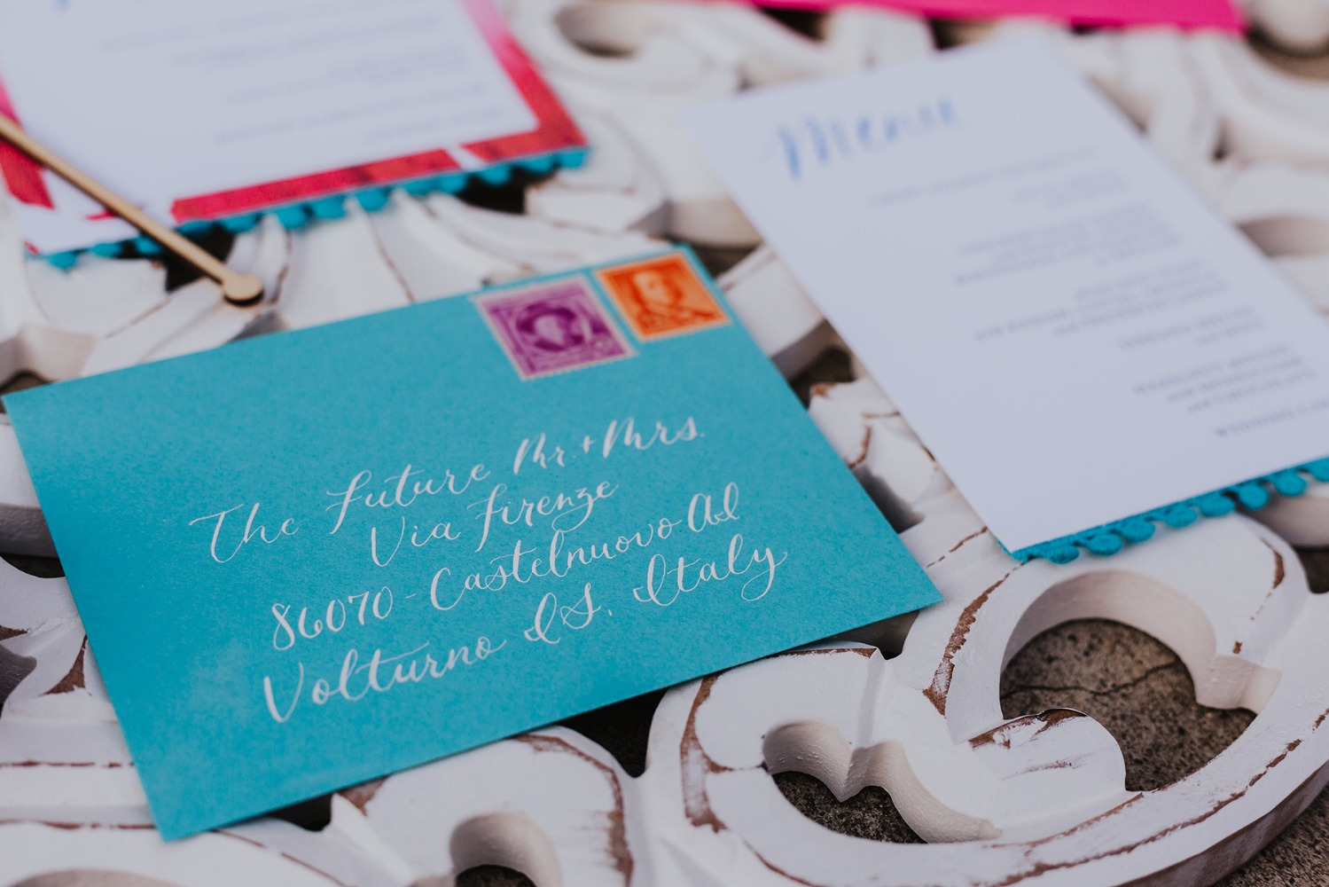 blue wedding envelope