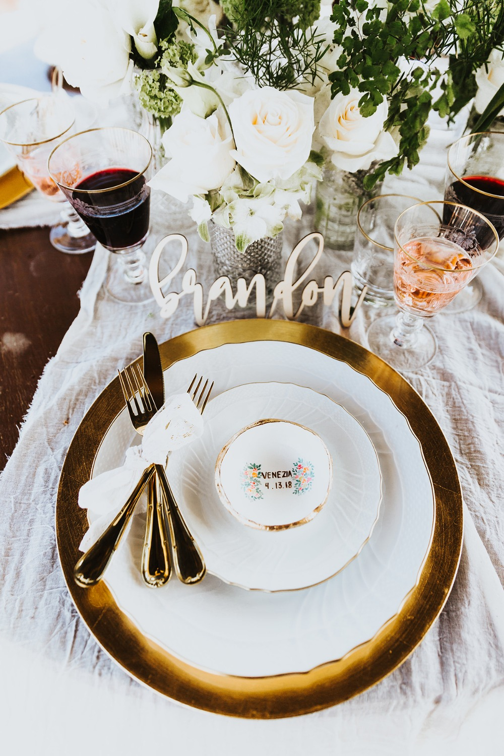 classic and modern wedding place setting