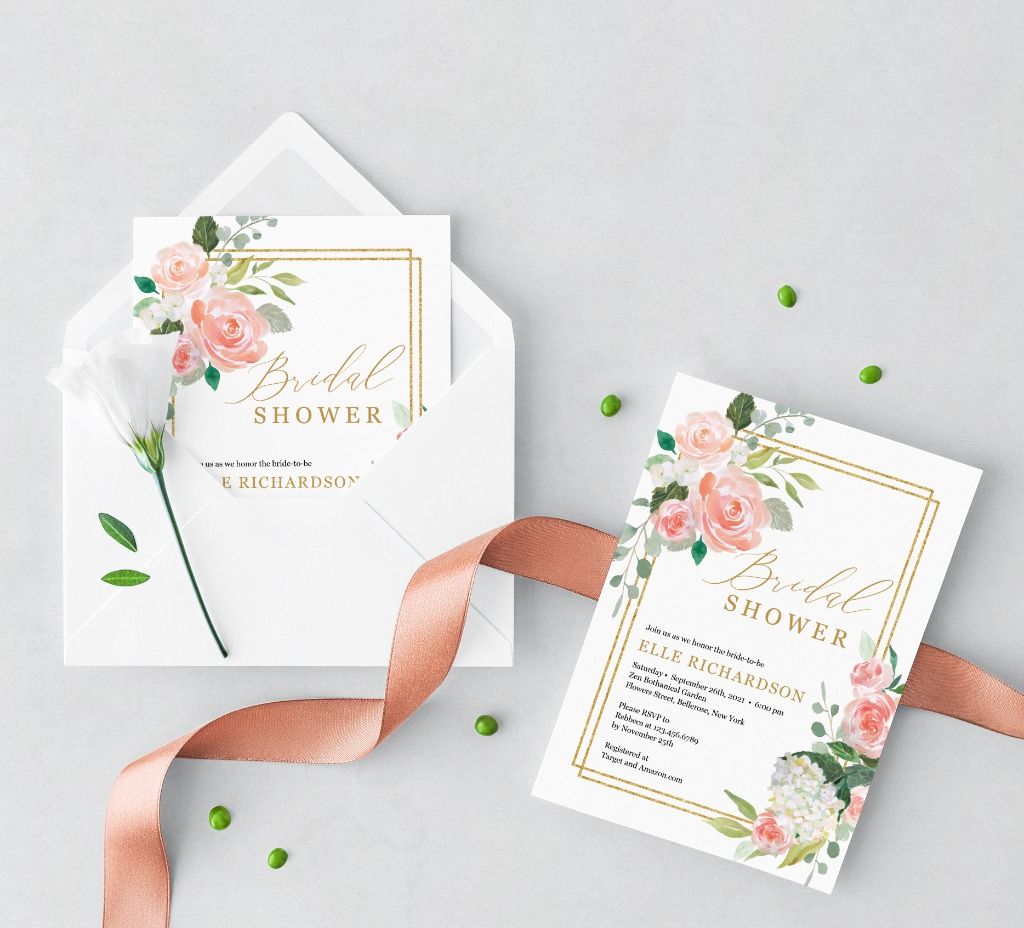 ADORABLE FLORAL BRIDAL SHOWER INVITATION, features hand-painted watercolor blush pink flowers, accented by elegant gold geometric shape