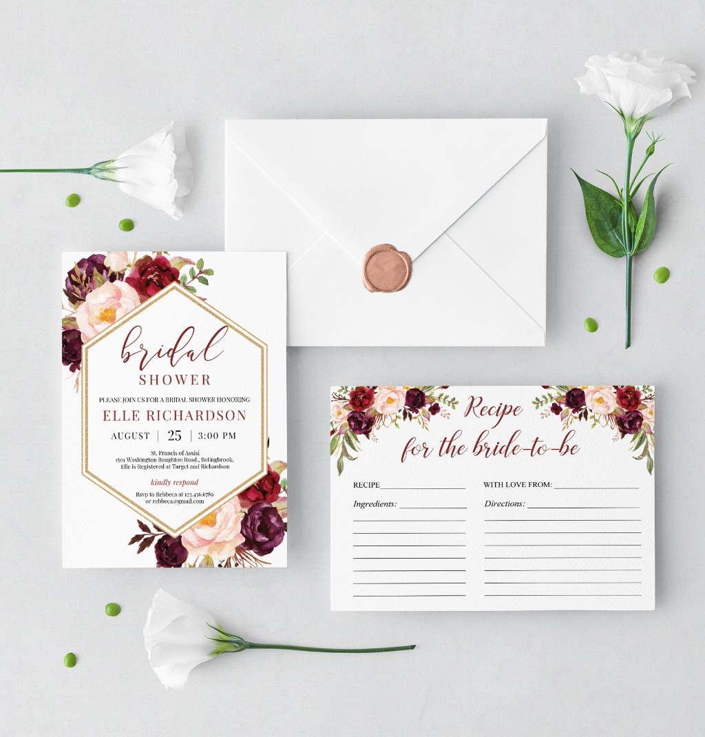 GORGEOUS MARSALA AND GOLD GEOMETRIC SHAPE INVITATION, features hand-painted watercolor burgundy and blush pink flowers, accented by
