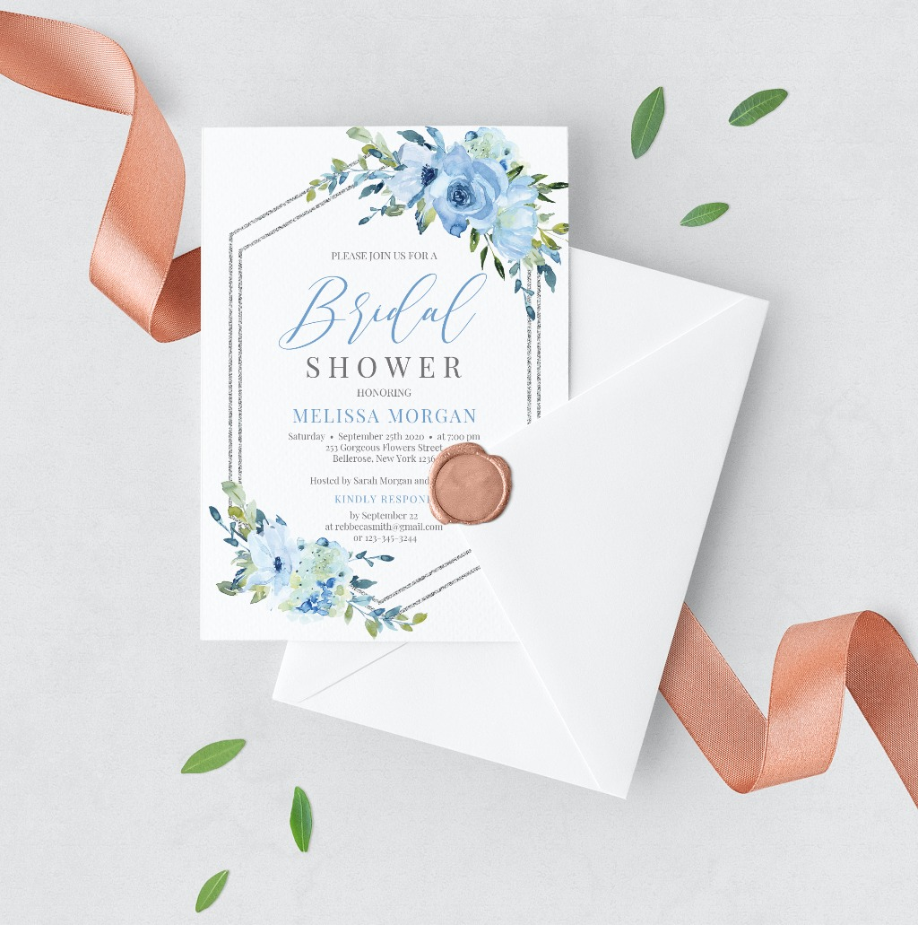 UNIQUE SILVER AND BLUE FLOWERS INVITATION, features hand painted watercolor blue flowers, accented by elegant silver glitter geometric