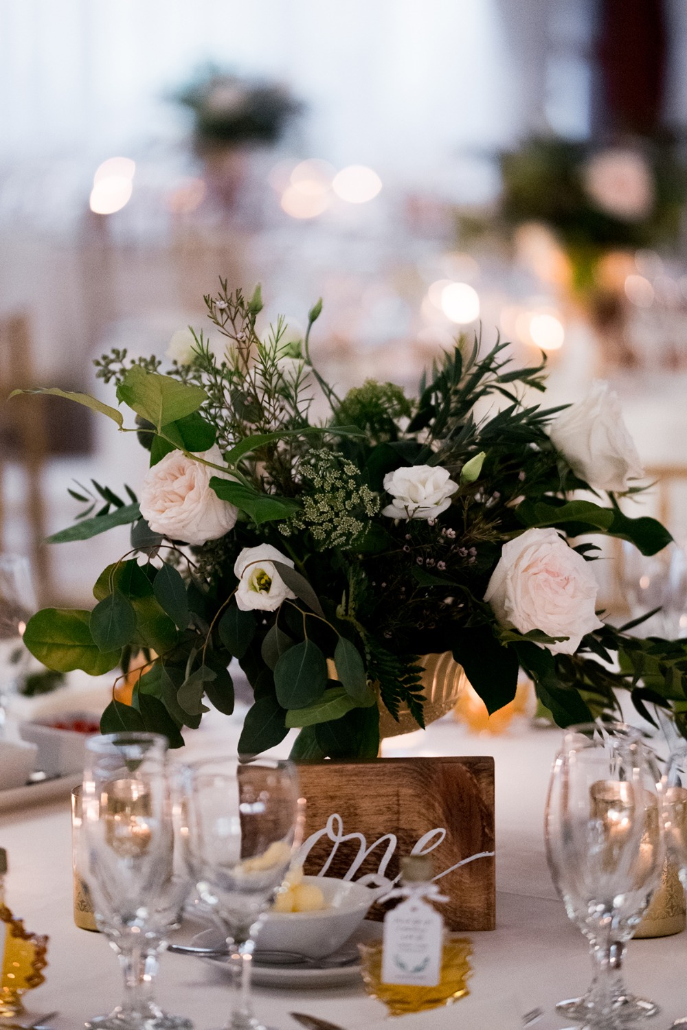blush and white and gold wedding centerpiece