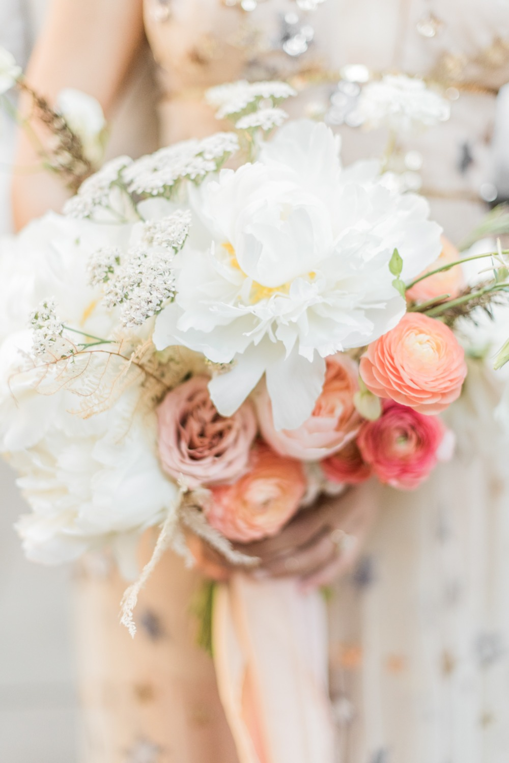 wedding flowers in pink and white