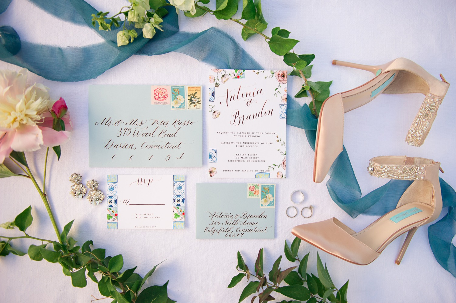 wedding invitation suite with Italian tile theme