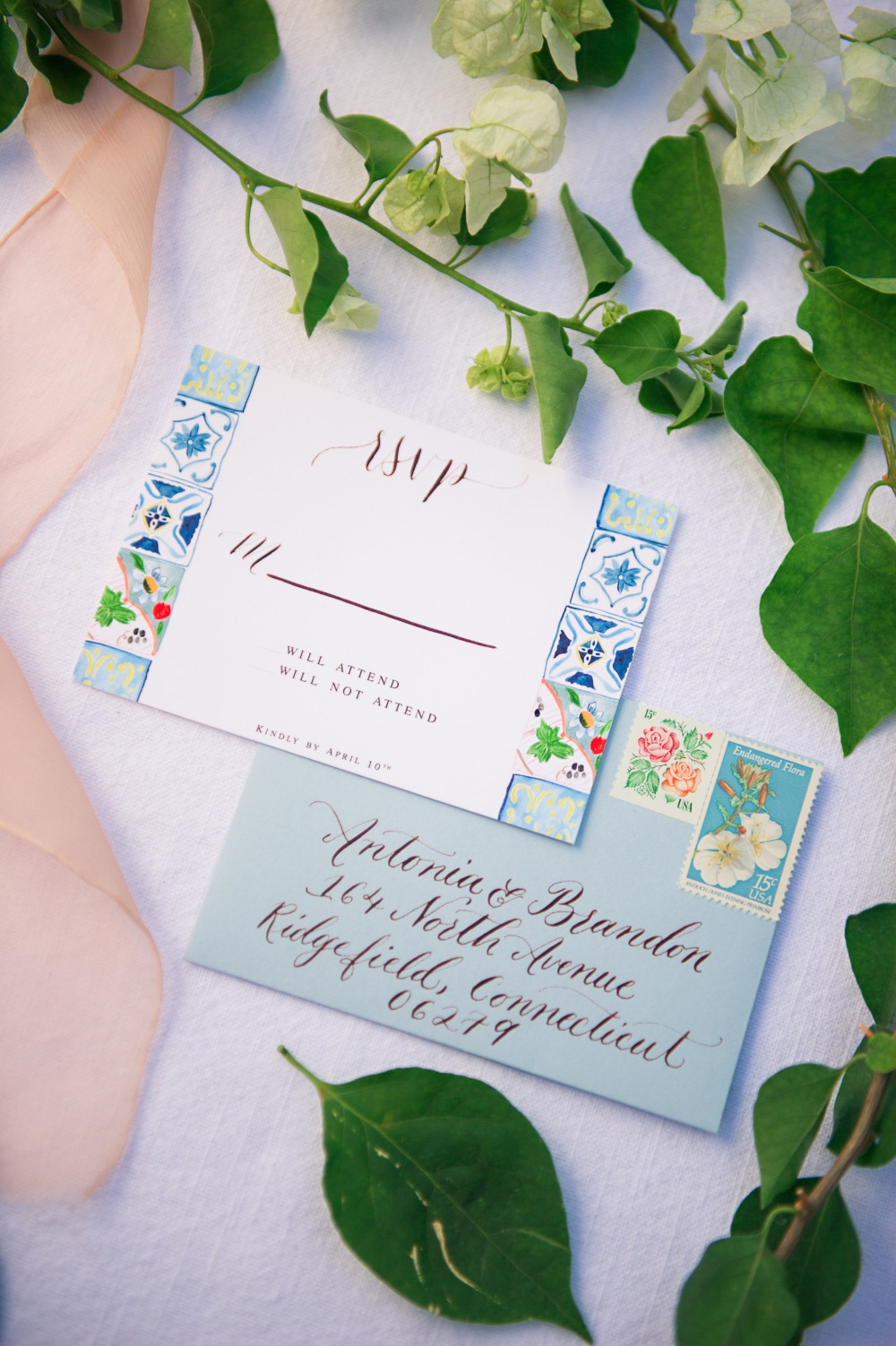painted Italian tile themed wedding RSVP