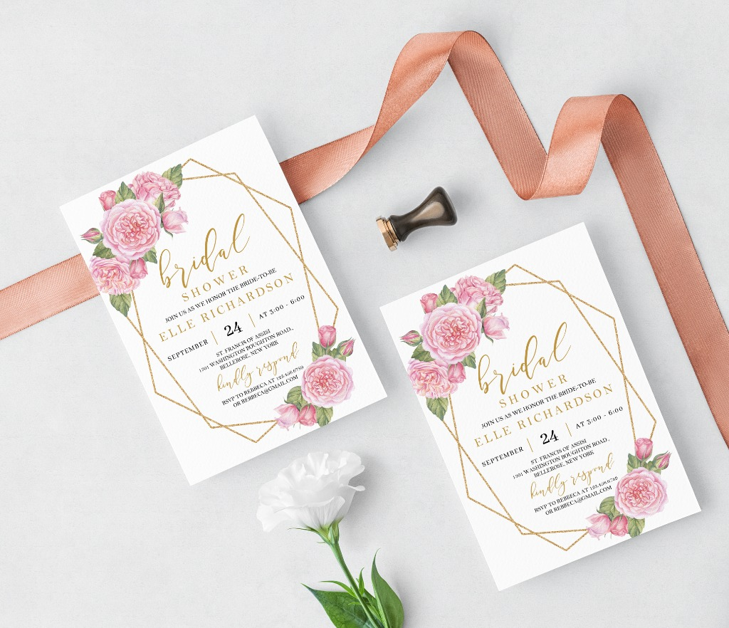 This MODERN BRIDAL SHOWER INVITATION features hand-painted blush and pink roses, accented by a gold glitter geometric frame and and
