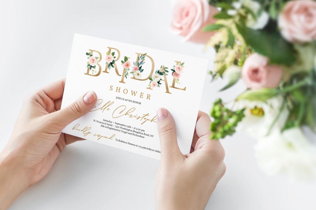 GORGEOUS FLORAL BRIDAL SHOWER INVITATION, features hand-painted watercolor blush pink flowers, accented by elegant gold foil floral