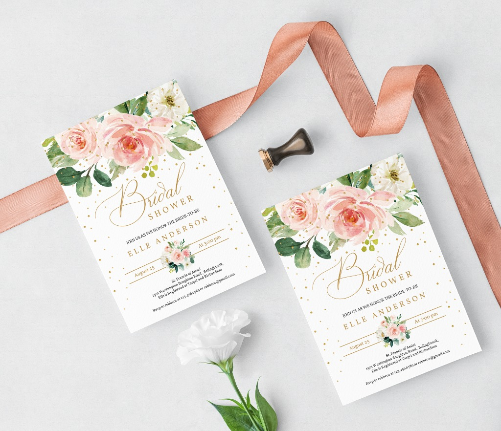 GORGEOUS FLORAL BRIDAL SHOWER INVITATION, features hand-painted watercolor blush pink flowers, accented by elegant gold calligraphy