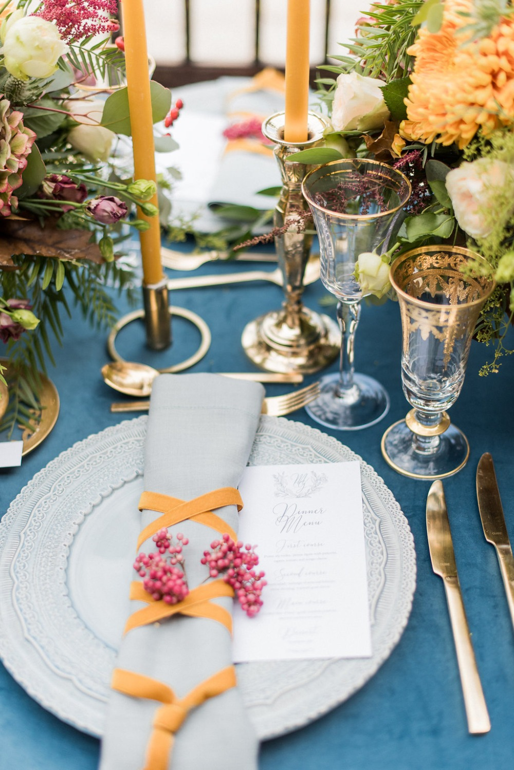 wedding table decor with a Medieval style
