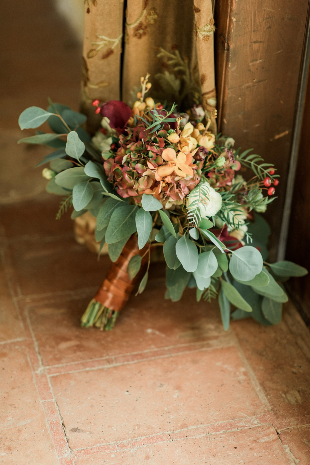 wedding bouquet in red and orange