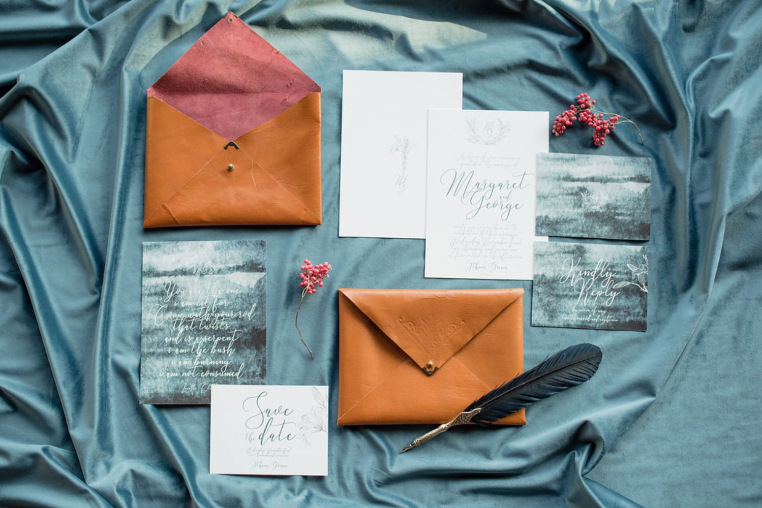wedding invitation stationery with a historic watercolor vibe
