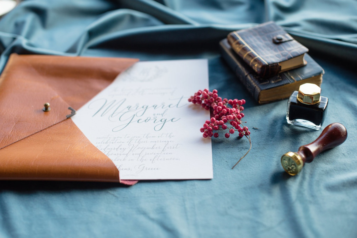leather envelope for your wedding invitation