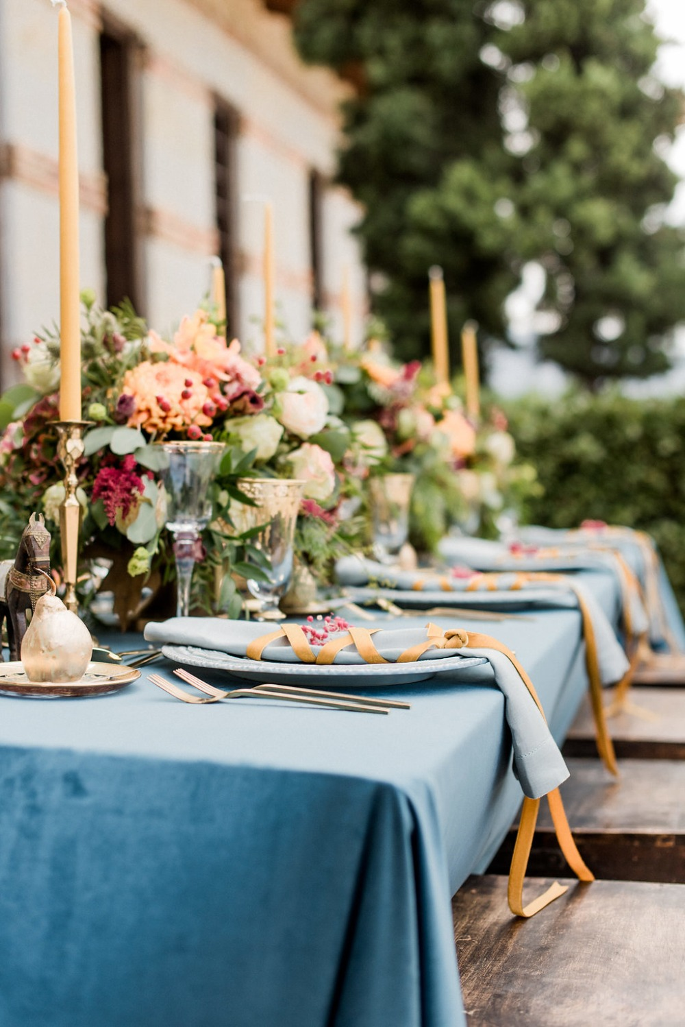 yellow and blue table decor
