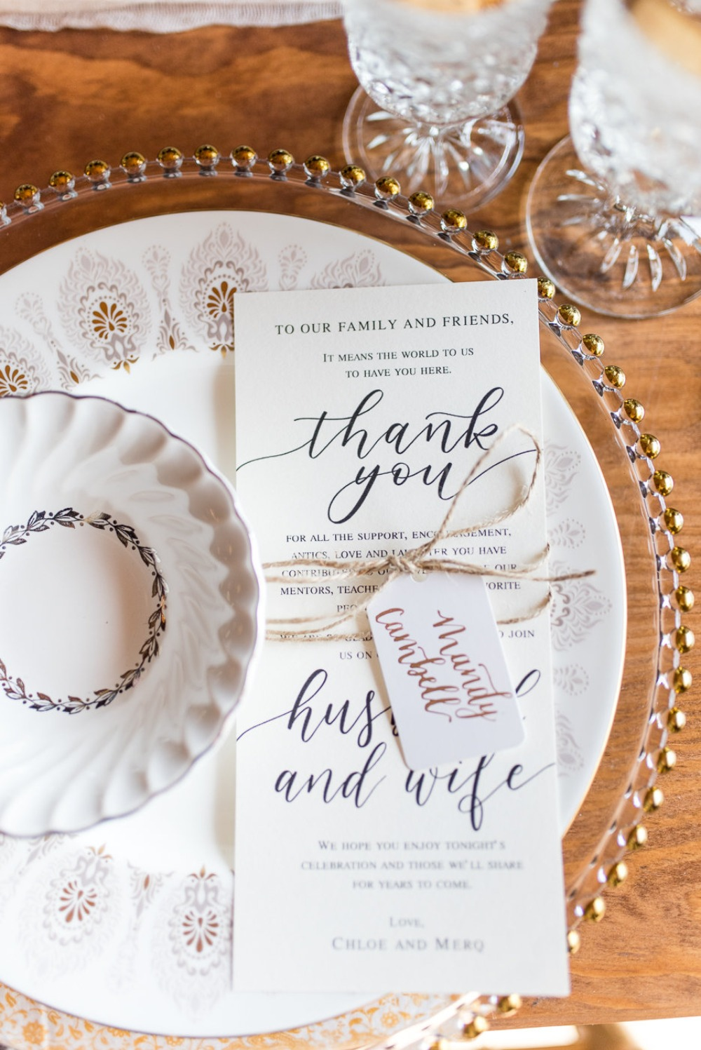 sweet thank you note from the wedding couple