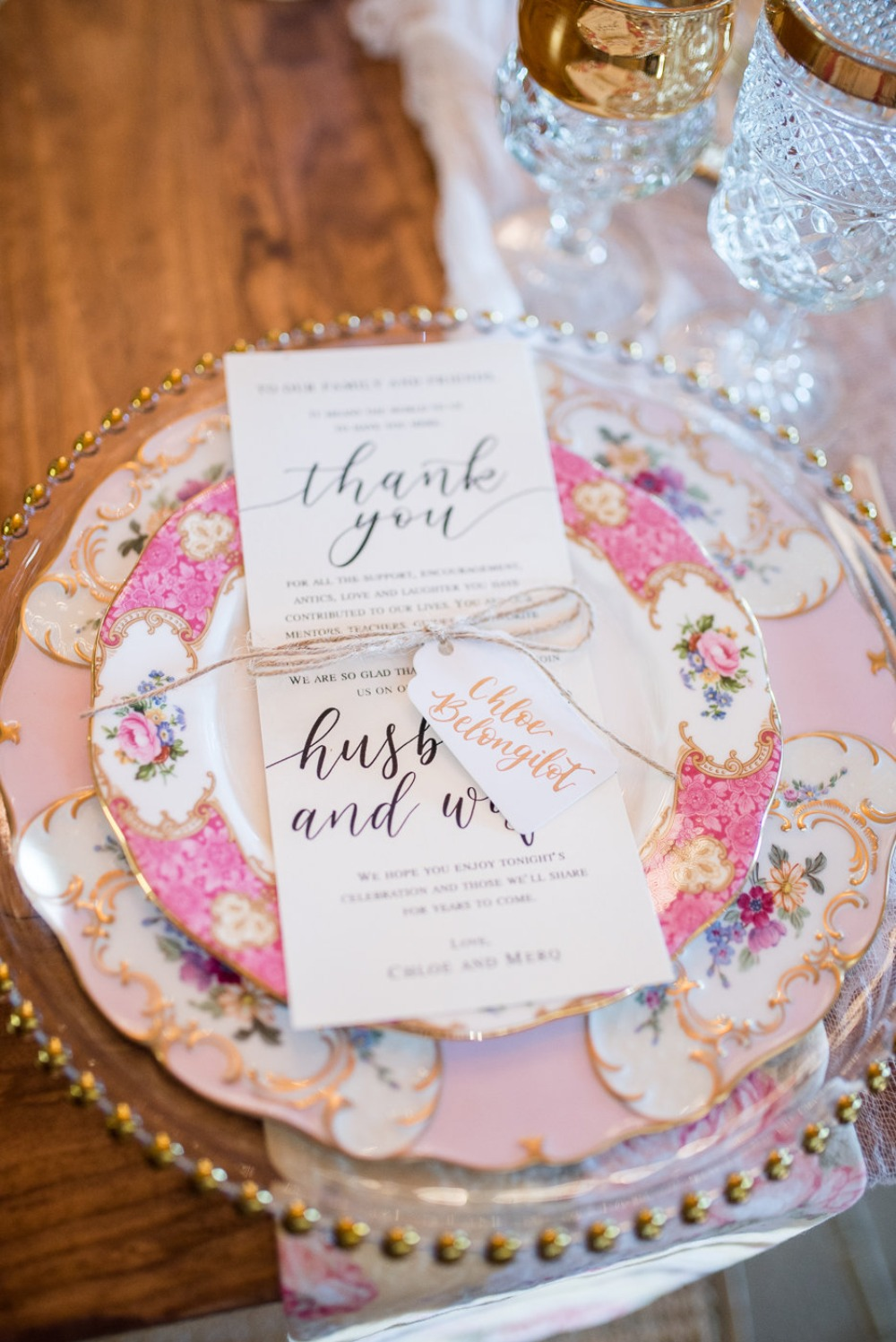 mismatched wedding china and thank you note