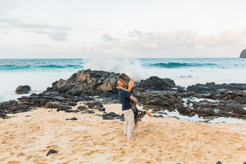 YES to all the waves crashing during an engagement session!