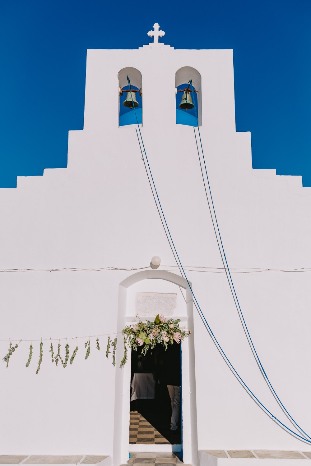 white wedding chapel in Cyclades