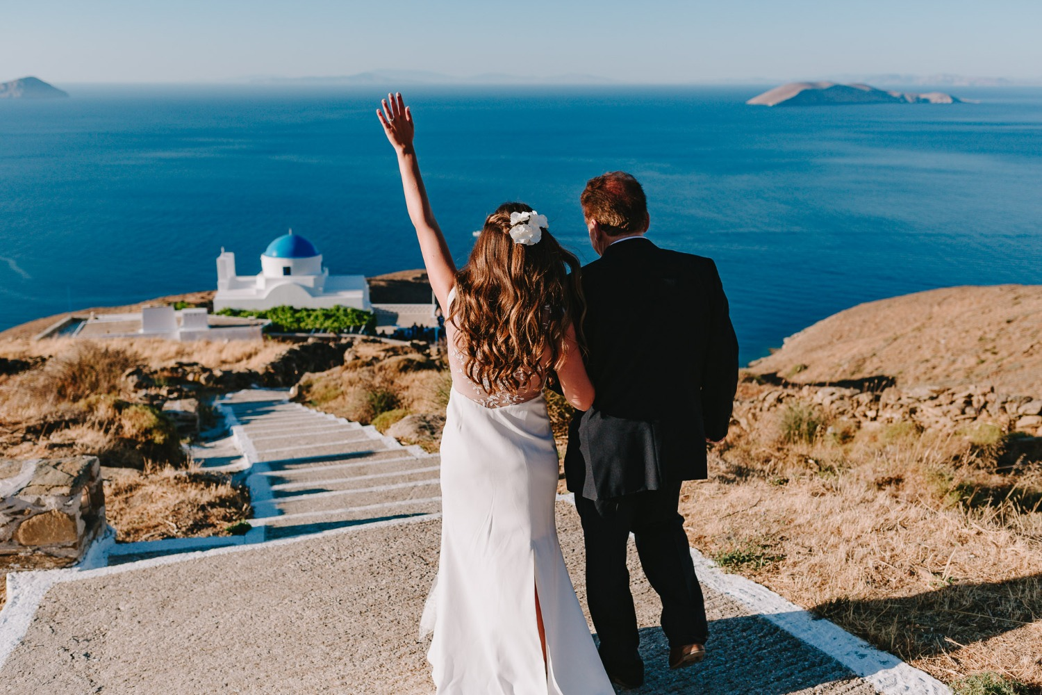 Here comes the bride in Cyclades