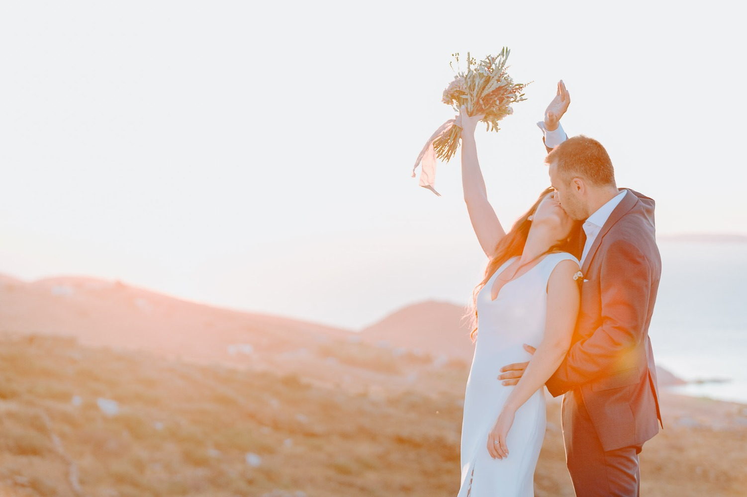 Just married sunset photo