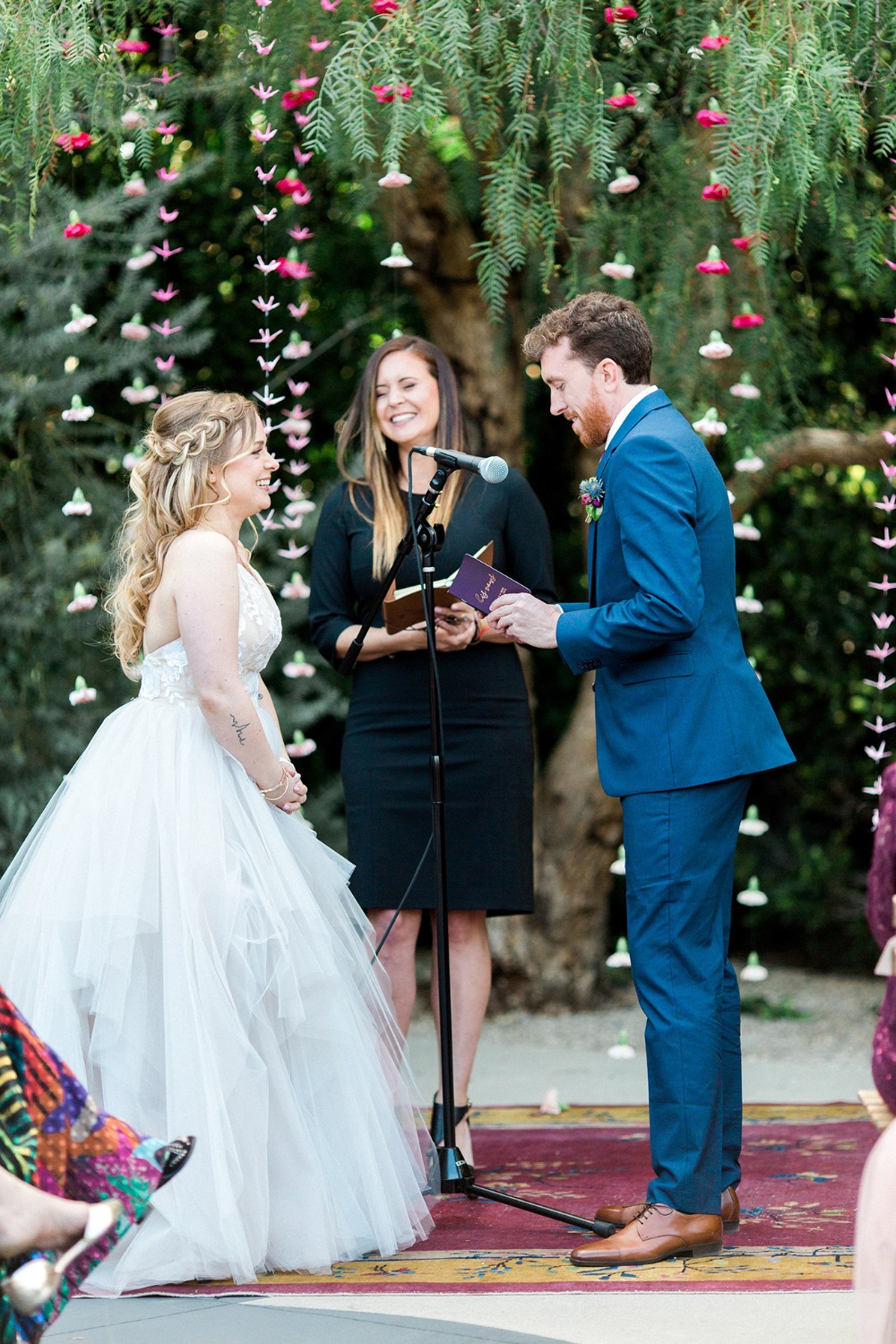 colorful outdoor ceremony at the Fig House
