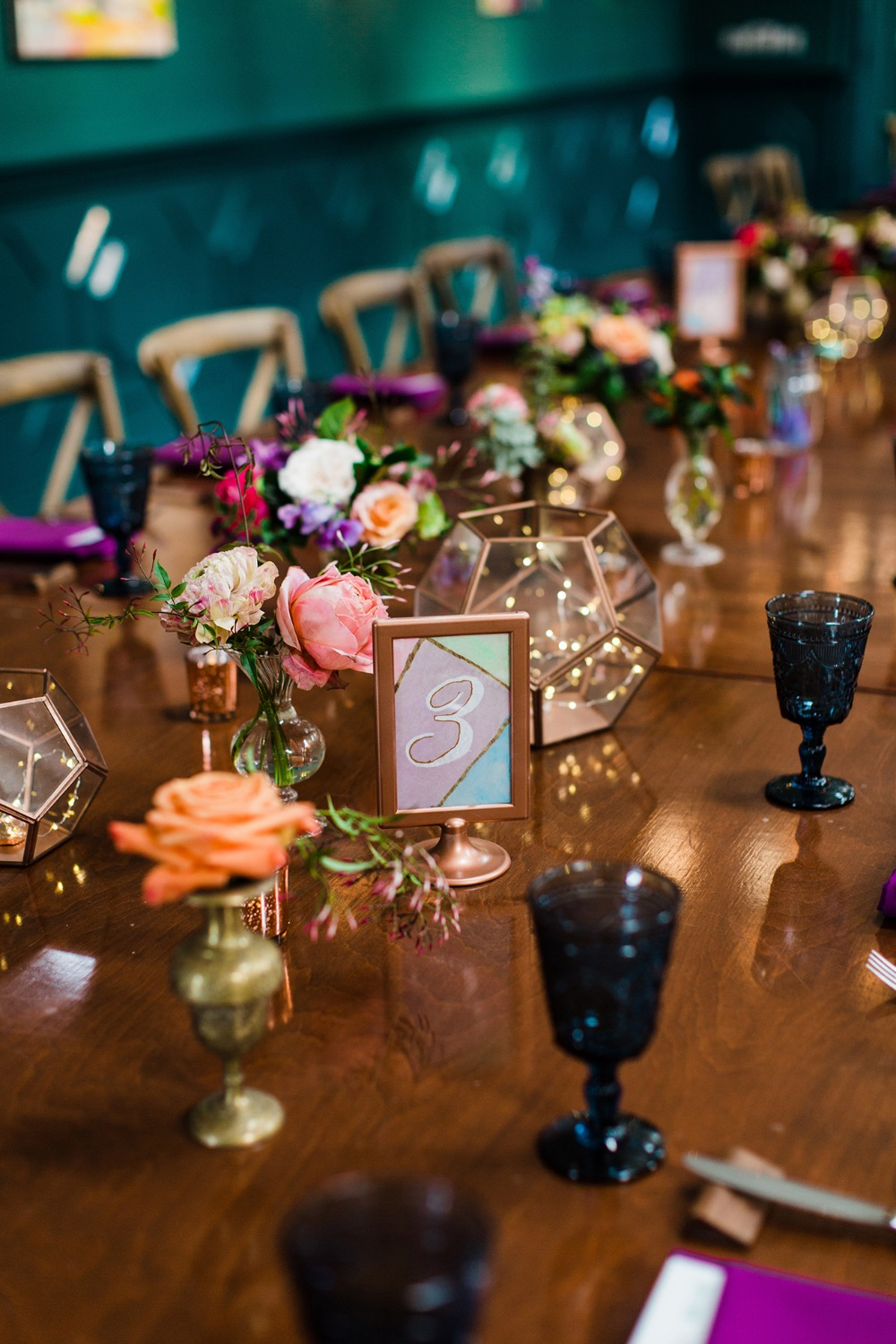 modern table numbers for a wedding