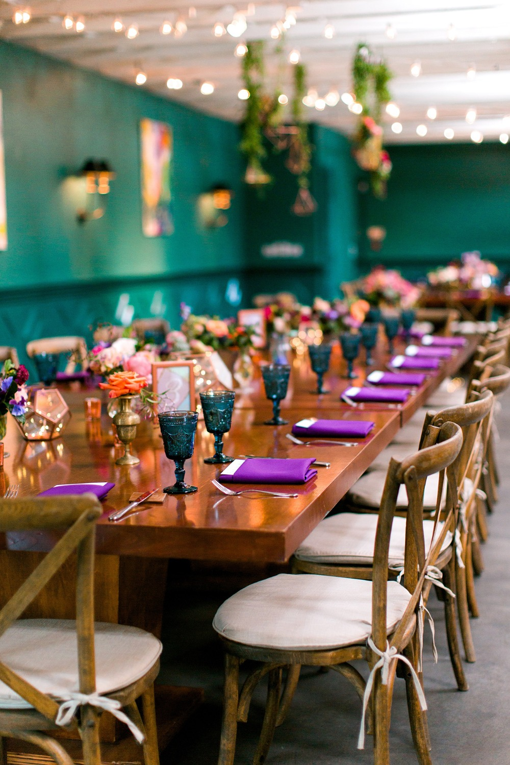 Colorful wedding reception at the Fig House