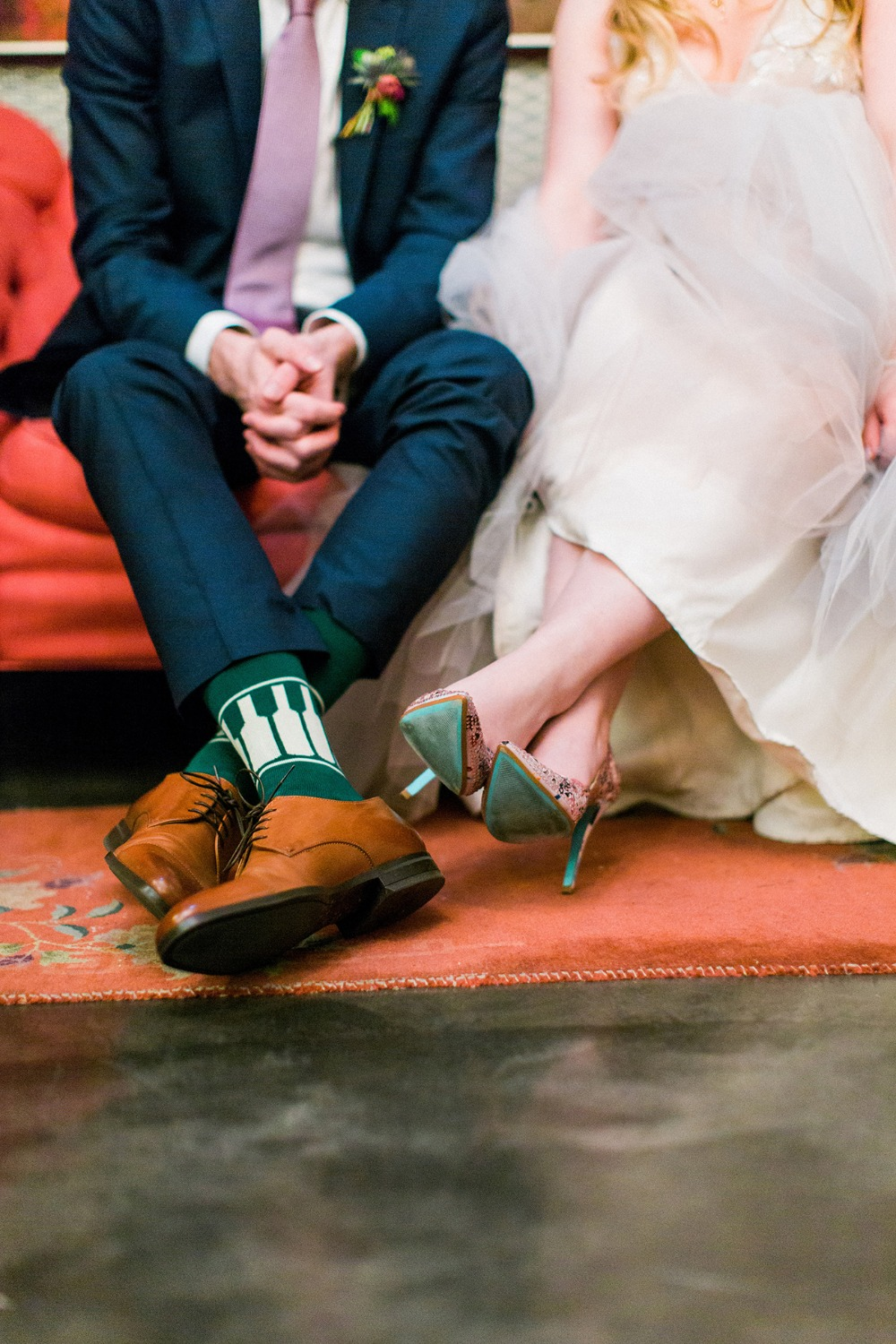 her shoes and his socks