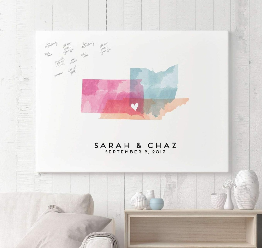 Our Wedding Guest Book Alternative with Watercolor Map is perfect for the couple that want a super meaningful keepsake from their big