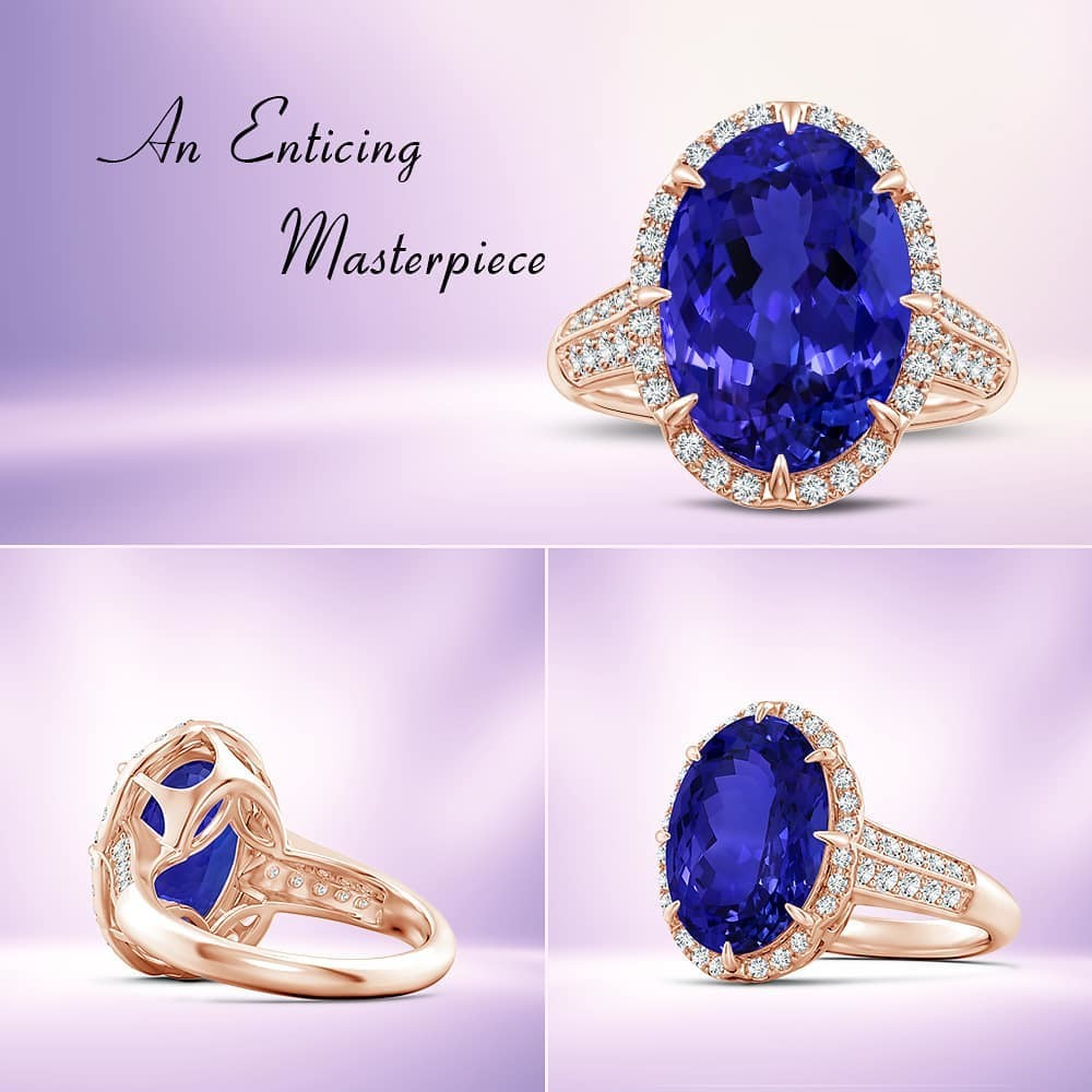 Held in an eight-claw setting is a stunning 7.84-carat GIA certified oval tanzanite. It has a modified brilliant cut and exudes an