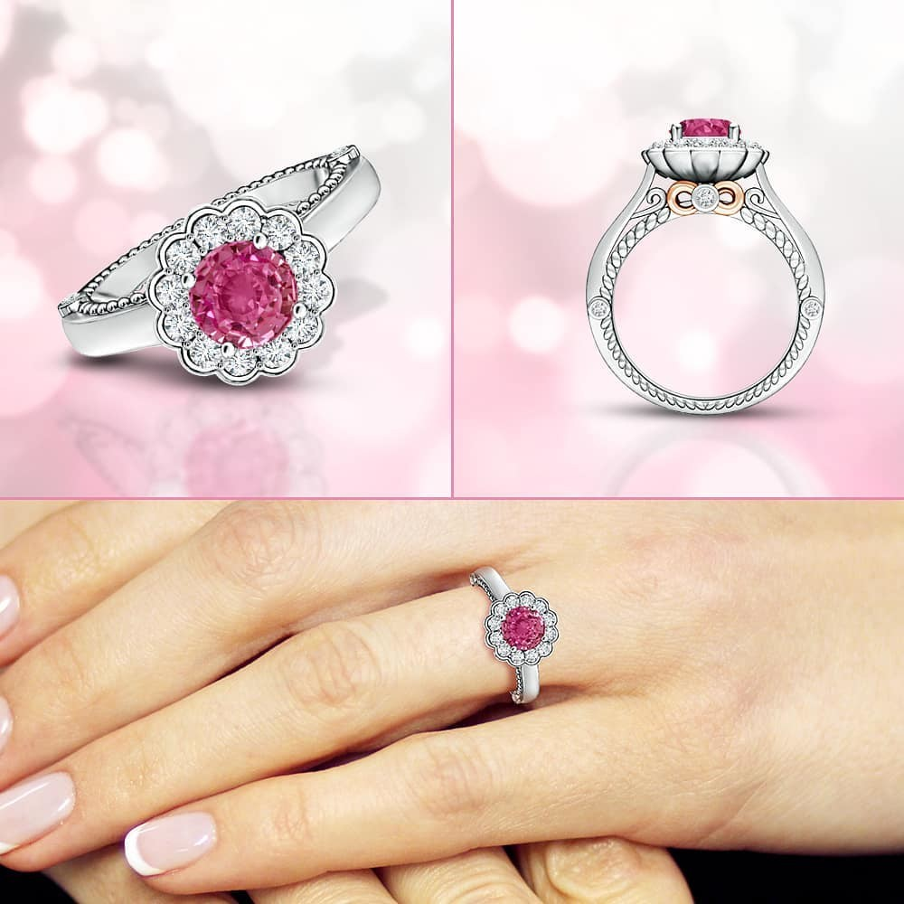 A scintillating floral halo encircles a lovely #pinksapphire