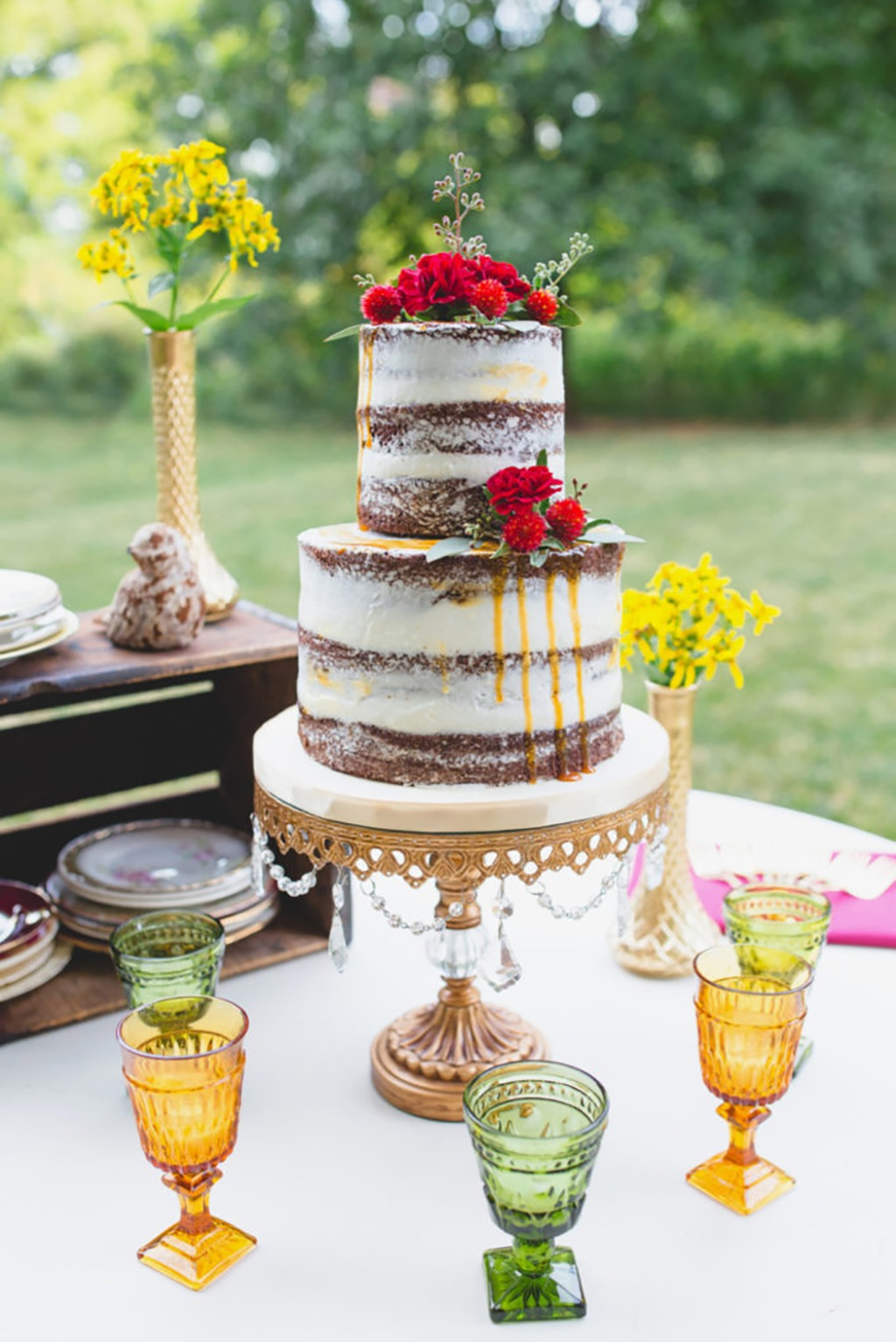 Fall Wedding Inspiration ... Chocolate Naked Wedding Cake on Antique Gold Chandelier Cake Stand created by Opulent Treasures