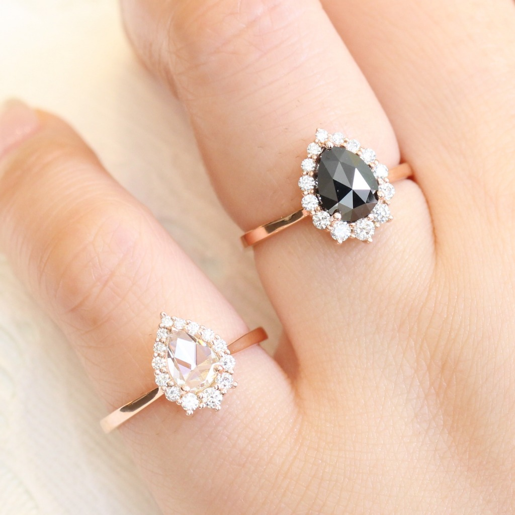 Black or White? Which rose cut diamond ring will you pick? Shop our Tiara Halo Diamond Rings in Rose Gold by La More Design